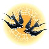 2 ласточки летая иллюстрация вектора