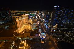 Лас-Вегас, гостиница Парижа и казино, район метрополитена, метрополия, ноча, город стоковые фото