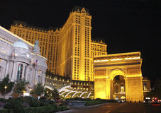 Лас-Вегас Париж к ноча Стоковая Фотография RF