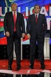 ЛАС-ВЕГАС, NV - 15-ОЕ ДЕКАБРЯ: Республиканский сенатор Тед Cruz и Дональд j США кандидатов в президенты Стойка козыря высокоросла Стоковые Фотографии RF