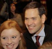 ЛАС-ВЕГАС, NV - 14-ОЕ ДЕКАБРЯ: Республиканский сенатор Marco Rubio кандидата в президенты представляет для камеры на ралли кампан Стоковые Фото