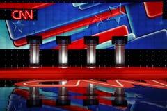 ЛАС-ВЕГАС, NV, 15-ое декабря 2015, пустые подиумы на дискуссии CNN республиканской президентской на венецианских курорте и казино стоковое фото