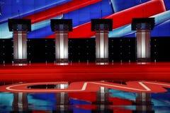 ЛАС-ВЕГАС, NV, 15-ое декабря 2015, пустые подиумы на дискуссии CNN республиканской президентской на венецианских курорте и казино стоковое изображение rf