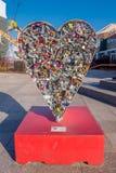 ЛАС-ВЕГАС, NV - 21-ОЕ НОЯБРЯ 2016: Скульптура Locket влюбленности на парке контейнера в Лас-Вегас, парке контейнера a Стоковое Изображение
