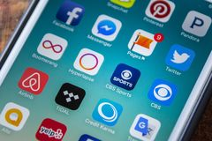 ЛАС-ВЕГАС, NV - 22-ое сентября 2016 - Значок App спорт CBS на Appl Стоковое Изображение