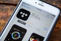 ЛАС-ВЕГАС, NV - 22-ое сентября 2016 - Приливное iPhone App музыки в t стоковая фотография rf