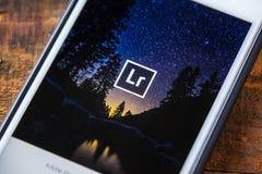ЛАС-ВЕГАС, NV - 22-ое сентября 2016 - Adobe Lightroom App на Appl Стоковое Изображение