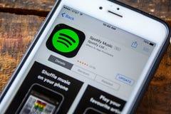 ЛАС-ВЕГАС, NV - 22-ое сентября 2016 - IPhone App Spotify в a стоковое изображение