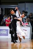 ЛАТВИЯ, РИГА: Пара танца выполняет взрослую стандартную программу на ба Стоковое фото RF
