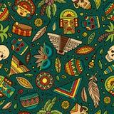 Латино-американская шаржа нарисованная вручную, мексиканская безшовная картина Стоковые Фотографии RF