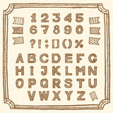 Латинский алфавит, рука нарисованные чернила ручки Стоковое Изображение RF
