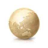 Латунная иллюстрация Азия и Австралия глобуса 3D составляет карту Стоковые Фото