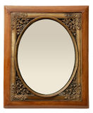 латунная шикарная древесина фото рамки Стоковое Изображение