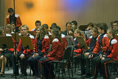 латунный подросток оркестра Стоковые Фотографии RF