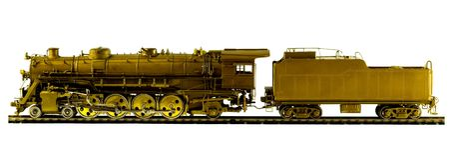 латунный поезд пара модели двигателя Стоковое Фото