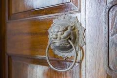 Латунный knocker двери головы льва на деревянной двери Стоковая Фотография