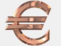 Латунь символа евро в 3D стоковая фотография rf