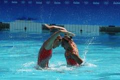 Лаура Auge и Margaux Chretien Франции состязаются во время круга дуэта синхронного плавания предварительного на 2016 Олимпиадах Стоковое фото RF