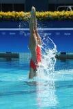 Лаура Auge и Margaux Chretien Франции состязаются во время круга дуэта синхронного плавания предварительного на 2016 Олимпиадах Стоковые Изображения RF