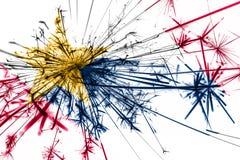 Лафайет, флаг фейерверков Индианы сверкная Концепция Нового Года 2019 и рождественской вечеринки положения флагов америки соедини иллюстрация вектора
