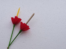Ладан и белой свечи предпосылки текстуры Стоковая Фотография RF