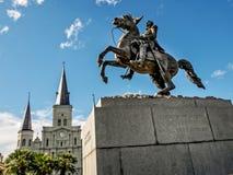 ЛА Нового Орлеана квадрата Джексона и собора Сент-Луис Стоковая Фотография