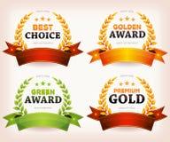 Ладони наград, листья лавра с знаменами и ленты Стоковые Фото