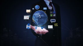 Ладонь бизнесмена открытая, вращая земля, расширяя социальные сетевые услуги искусственный спутник, сообщение иллюстрация вектора
