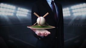 Ладонь бизнесмена открытая, floting бейсбол, летучая мышь, шарик Поле
