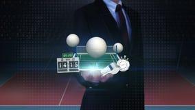 Ладонь бизнесмена открытая, floting значок волейбола, суд, сеть, свисток олимпийско иллюстрация штока