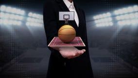 Ладонь коммерсантки открытая, баскетбол, суд, стойка ворот иллюстрация штока