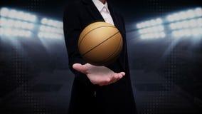 Ладонь коммерсантки открытая, баскетбол иллюстрация штока