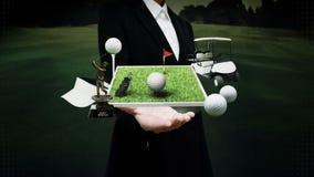 Ладонь коммерсантки открытая, значок гольфа, сумка гольфа, поле, курс, тележка гольфа Гольф-клубы иллюстрация вектора