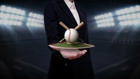 Ладонь коммерсантки открытая, floting бейсбол, летучая мышь, шарик Поле бесплатная иллюстрация