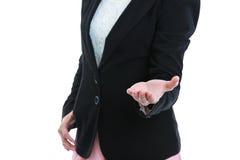 Ладонь руки показа женщины открытая для продукта или текста дисплея Isolat Стоковое фото RF