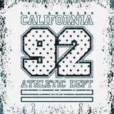 ЛА футболки, коллеж спорта, Лос-Анджелес CA, дизайн спорта иллюстрация штока