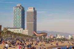 Ла Barceloneta в дневном свете Стоковые Фото