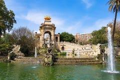 Ла Ciutadella Барселона Fontain Шрифта de Ла Cascada Parc de стоковые фото