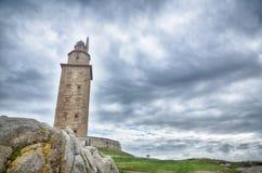 Ла Coruna, Испания, маяк Стоковые Фото