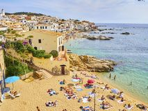 Ла Platgeta de Calella, маленький пляж Calella de Palafrugell Испания стоковое фото rf