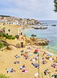 Ла Platgeta de Calella, маленький пляж Calella de Palafrugell Испания стоковые изображения