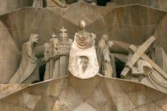 Ла Sagrada Familia, Барселона, Испания, парадный вход, современное fac стоковые фотографии rf