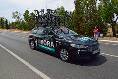 Ла Vuelta España автомобиля команды Bora Hansgrohe стоковые изображения rf