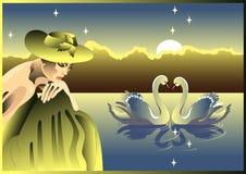лебеди девушки Стоковая Фотография