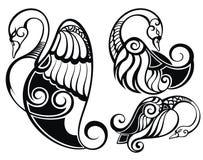 Лебеди silhouette комплект Стоковые Изображения