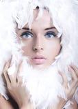 лебедь девушки Стоковая Фотография