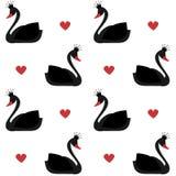 Лебедь милой симпатичной принцессы черный на иллюстрации картины вектора белой предпосылки безшовной Стоковое Фото