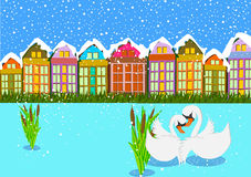 Лебедь на сцене зимы