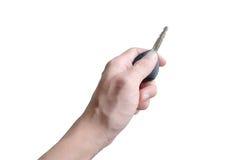 Левая рука держа ключ автомобиля Стоковые Фото