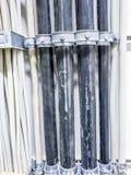 Леверкузен, Германия - 6-ое сентября 2018: Конец-вверх силового кабеля для комнаты сетевого сервера компьютера стоковое фото rf